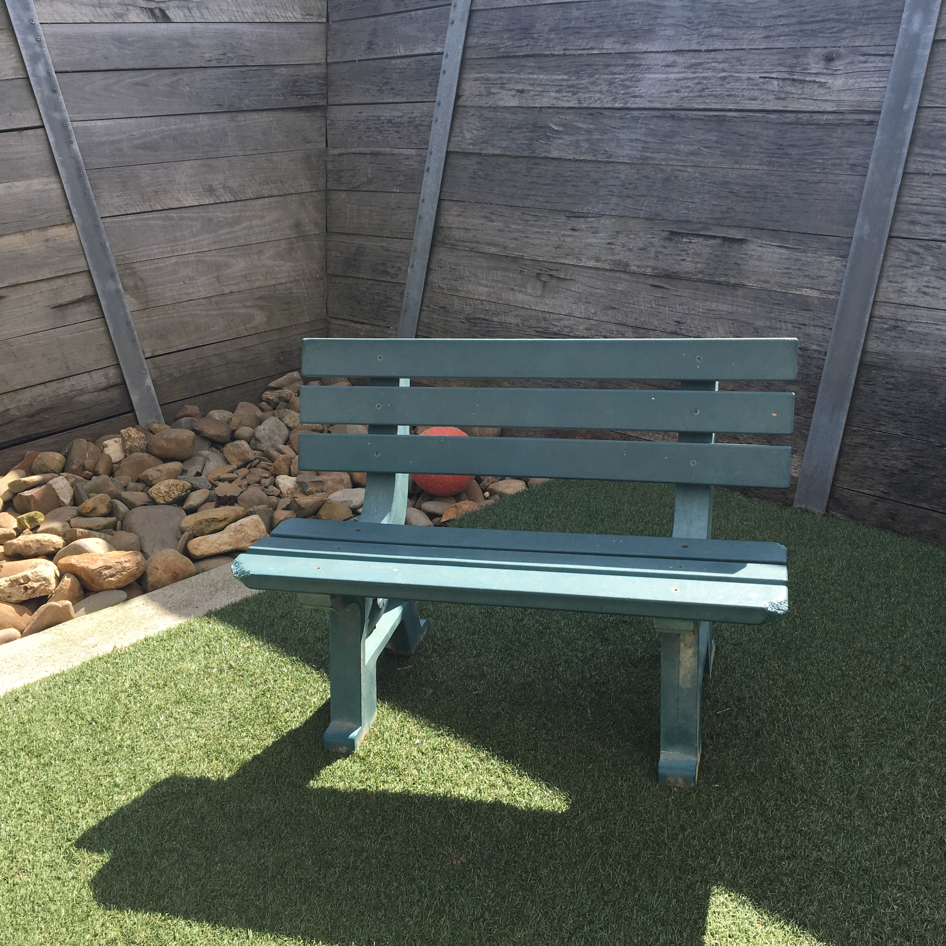 Rspca urban office includes recycled plastic furniture in outdoor enclosures